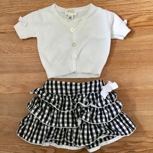 The Children's Place short cardigan and skirt.